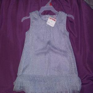 NWT 👶 BABY GIRL sparkly silver dress sz. 18m